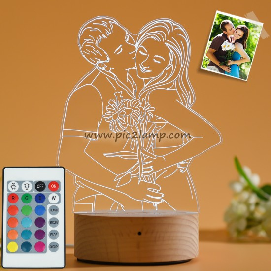 Custom 3D Photo Lamp, Engraved Photo Night Light Gift for Love - Magic Remote Control, Touch Multiple Color