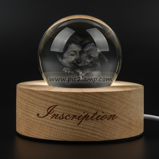 Personalized Creative Photo Crystal Ball Night Light Gift For Mom