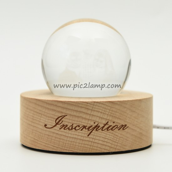 Personalized Photo Engraved Crystal Ball Lamp With Wooden Base Gift for Dad