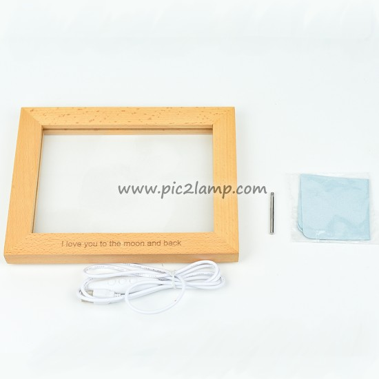 Custom Wooden Photo Frame LED Lamp Gift For Love - Horizontal