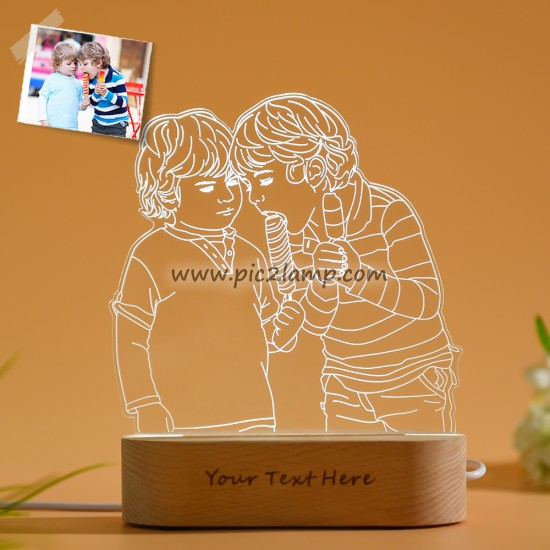 Custom Photo 3D Lamp Gift for Friend, Picture Engraved Night Light Lamp
