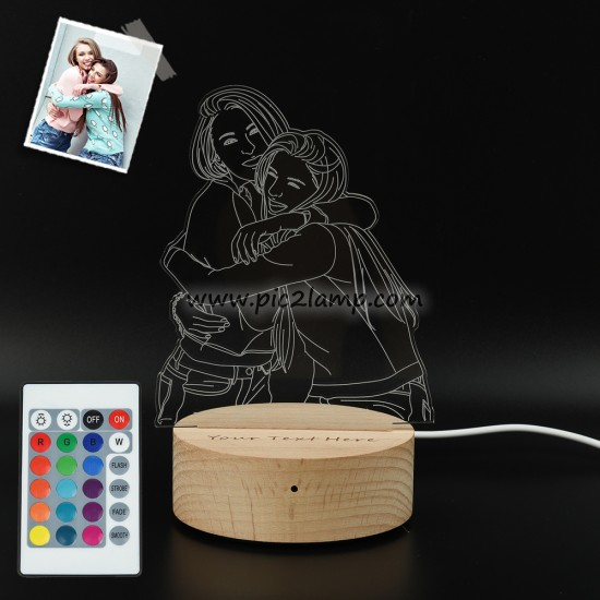 Personalized Photo 3D Lamp, Engraved Night Light Gift For Friend - Magic Remote Control, Touch Multiple Color