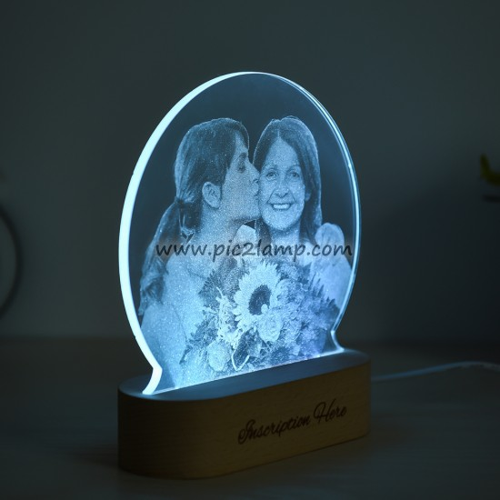 Custom Photo Lamp Gift for Love - Photo Engraved Lamp- Magic Remote Control 7 Colors