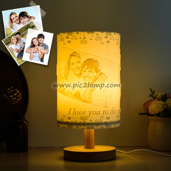 Personalized Wood Bedside Photo 3D Printing Lithophane Table Lamp Gift for Love
