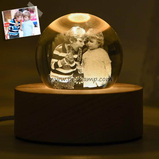 Personalized 3D Photo Crystal Lamp Gift For Friend